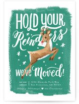 This is a green non photo holiday card by Four Wet Feet Studio called Hold Your Reindeers with standard printing on signature in standard.