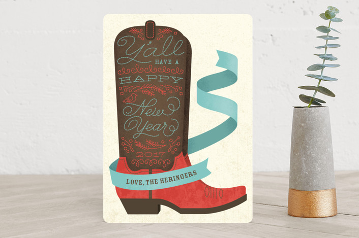 """Holiday Boots"" - Holiday Cards in peppermint by Ann Gardner."
