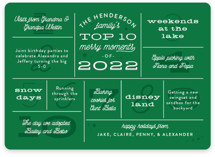 This is a green non photo holiday card by Sarah Brown called Merry Moments with standard printing on signature in standard.