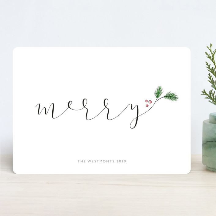 """""""Evergreen Merry"""" - Holiday Cards in Winter by Erin Deegan."""