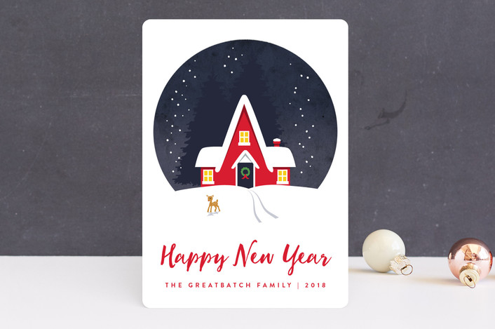 """Winter Cottage"" - Holiday Cards in Ruby by Kampai Designs."