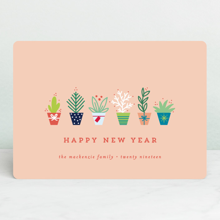 """succulents"" - Holiday Cards in Coral by Bethan."