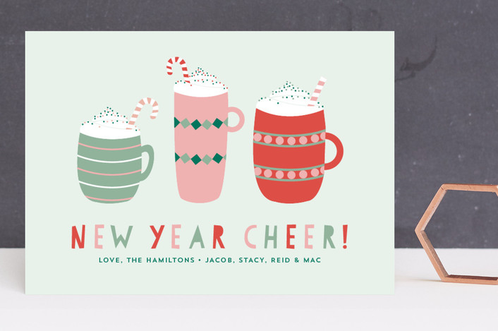 """Hot Cocoa"" - Holiday Cards in Ice Mint by Erika Firm."
