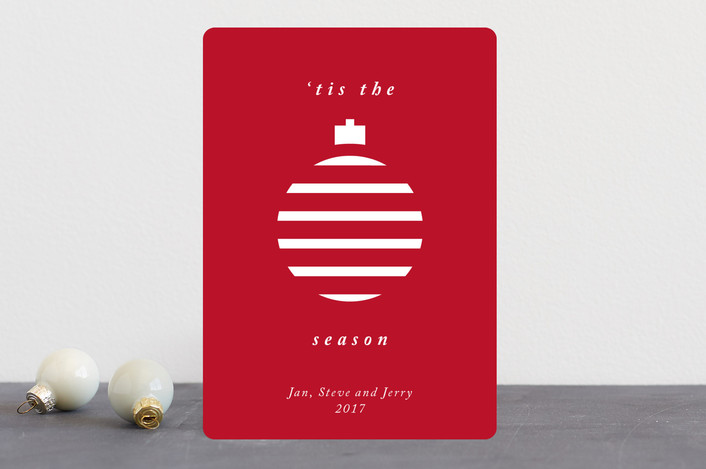 """""""Merry Ornament"""" - Holiday Cards in Cranberry by Catherine Culvenor."""