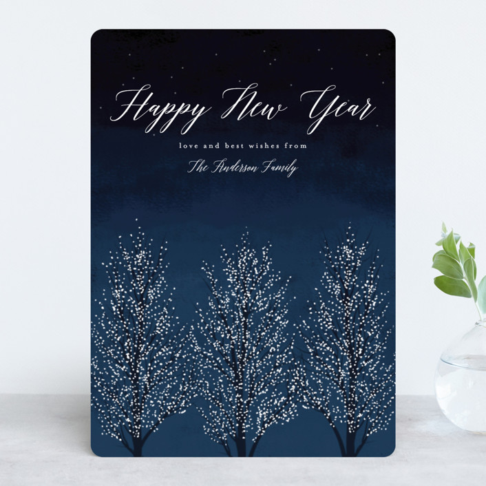 """Shimmering Trees"" - Holiday Cards in Midnight by Kelly Schmidt."