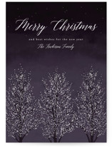 This is a purple non photo holiday card by Kelly Schmidt called Shimmering Trees with standard printing on signature in standard.