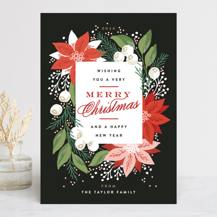 """Greeting Card Floral"" - Holiday Cards in Ebony by Alethea and Ruth."