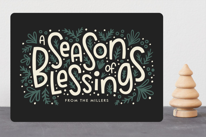 """""""Season of Blessings"""" - Holiday Cards in Coal by Laura Hankins."""
