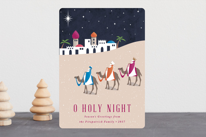 """Bethlehem"" - Holiday Cards in Fuschia by Kampai Designs."