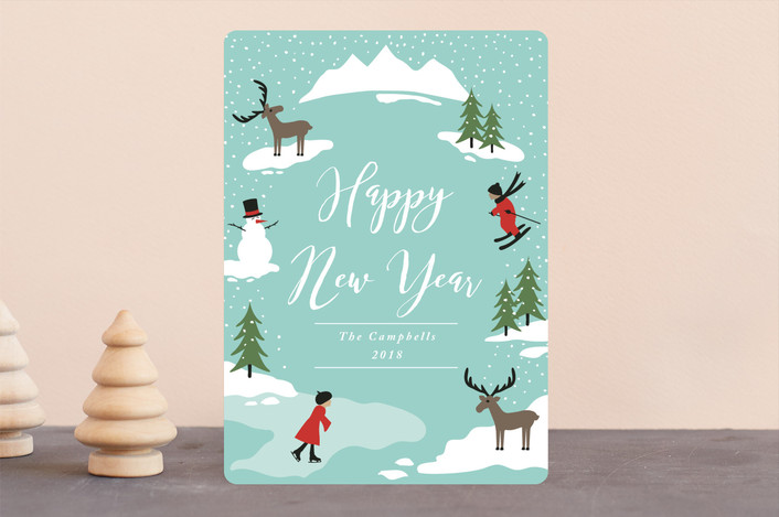 """Winter Wonderland"" - Holiday Cards in Sky by Kampai Designs."