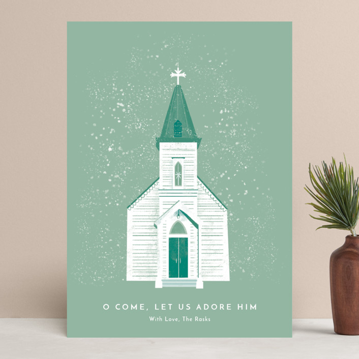 """""""O Come Let Us Adore Him"""" - Holiday Cards in Pine by Laura Mitchell."""