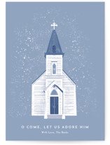 This is a blue non photo holiday card by Laura Mitchell called O Come Let Us Adore Him with standard printing on signature in standard.
