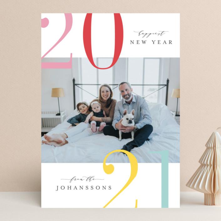 """Winter Bright"" - Modern New Year Photo Cards in Sorbet by Kristie Kern."