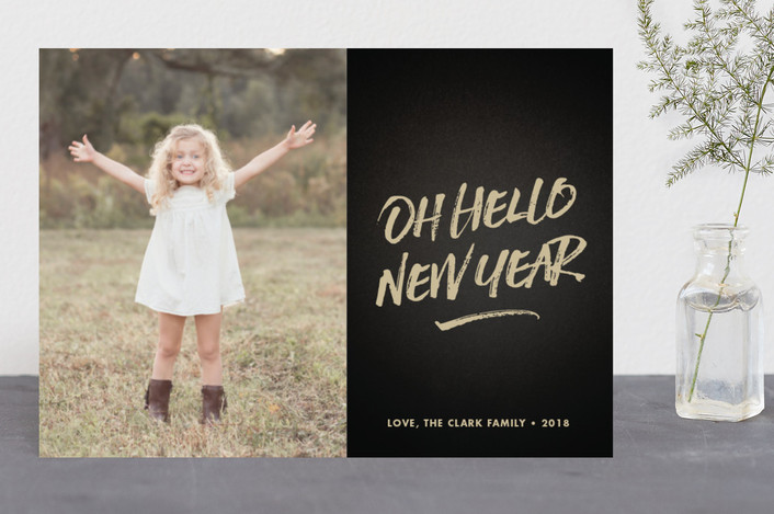 """oh hello new year"" - New Year Photo Cards in Latte by Waui Design."