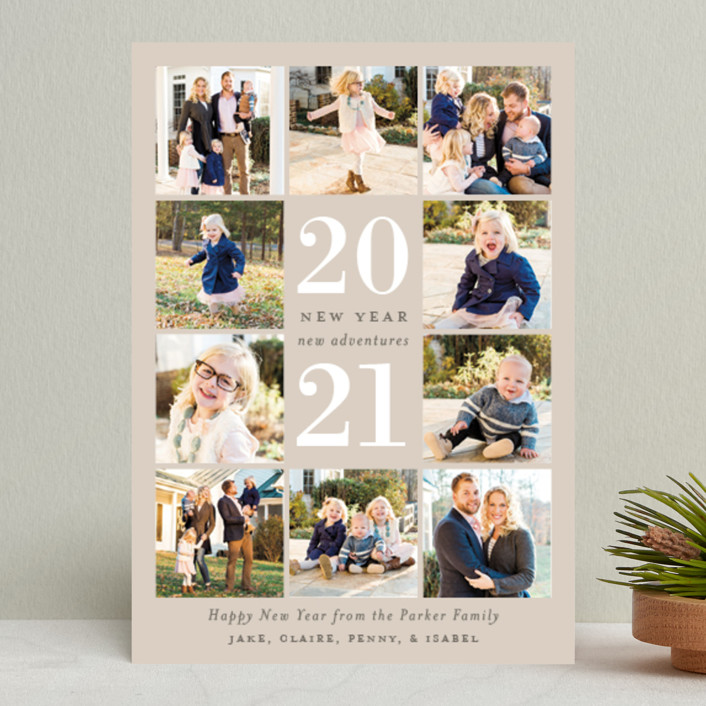 """""""Year of Adventures"""" - New Year Photo Cards in Taupe by Sarah Brown."""