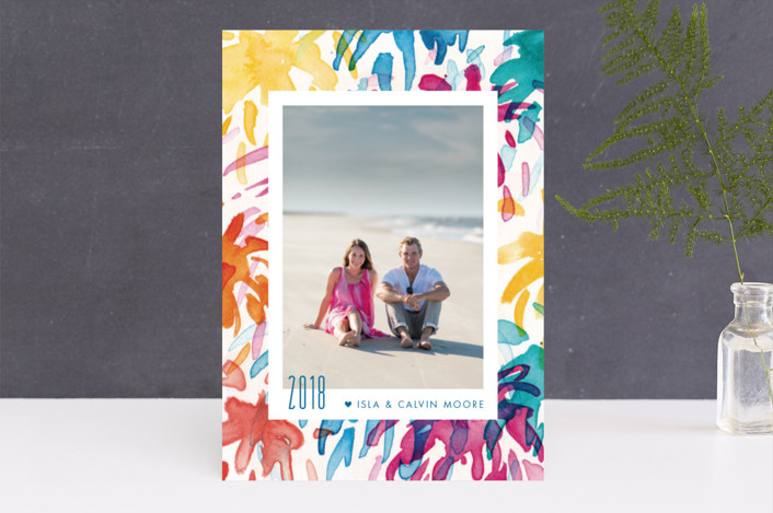 """Fireworks Frame"" - Modern New Year Photo Cards in Tropics by Holly Whitcomb."