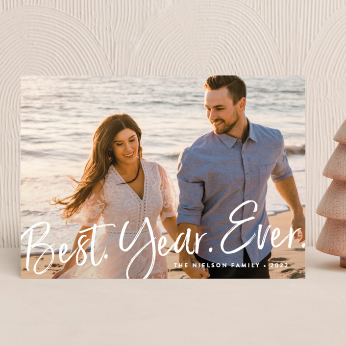 """""""Best Year Ever"""" - New Year Photo Cards in Dove Tail by Amy Payne."""