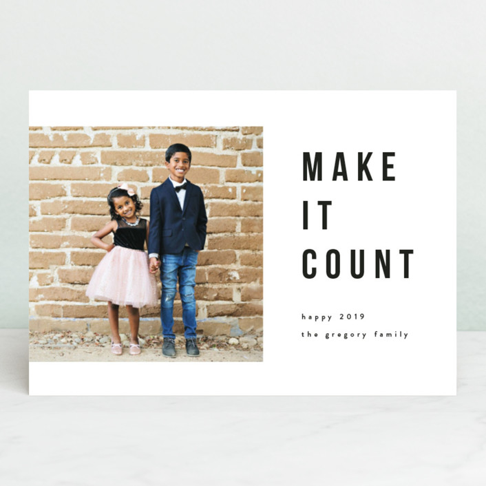 """make it count"" - New Year Photo Cards in Onyx by Angela Garrick."