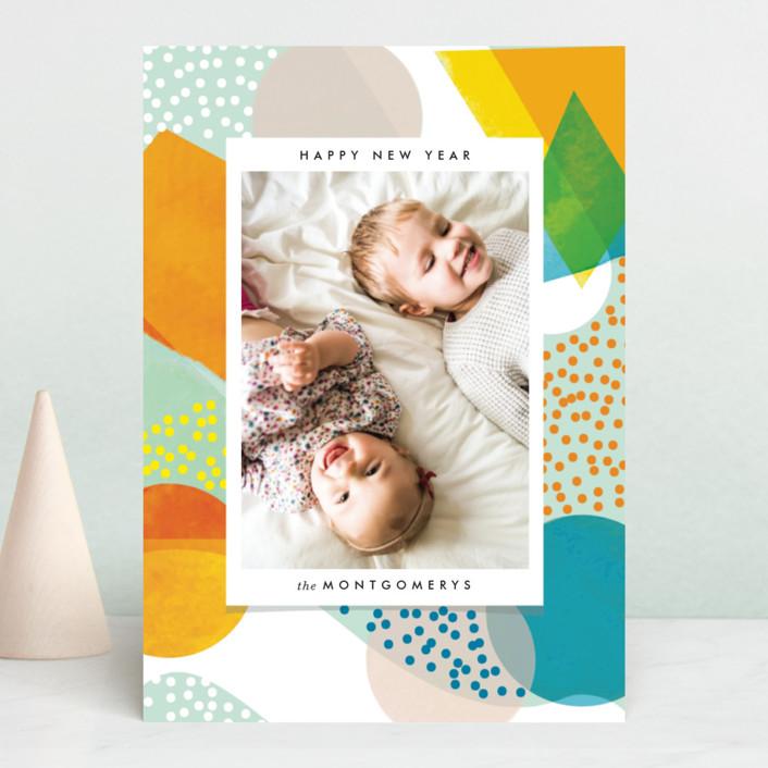 """Cheerful NewYear"" - Modern New Year Photo Cards in Gum Drops by Baumbirdy."