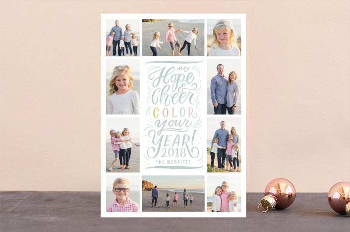 """Color Your Year"" - New Year Photo Cards in Aqua by Julie Murray."