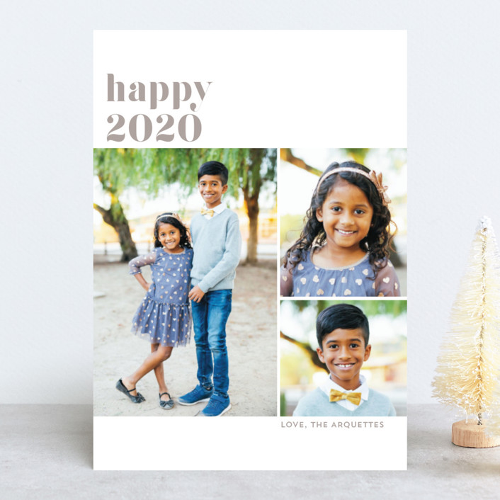 """3-up Simply Happy"" - New Year Photo Cards in Taupe by Erika Firm."