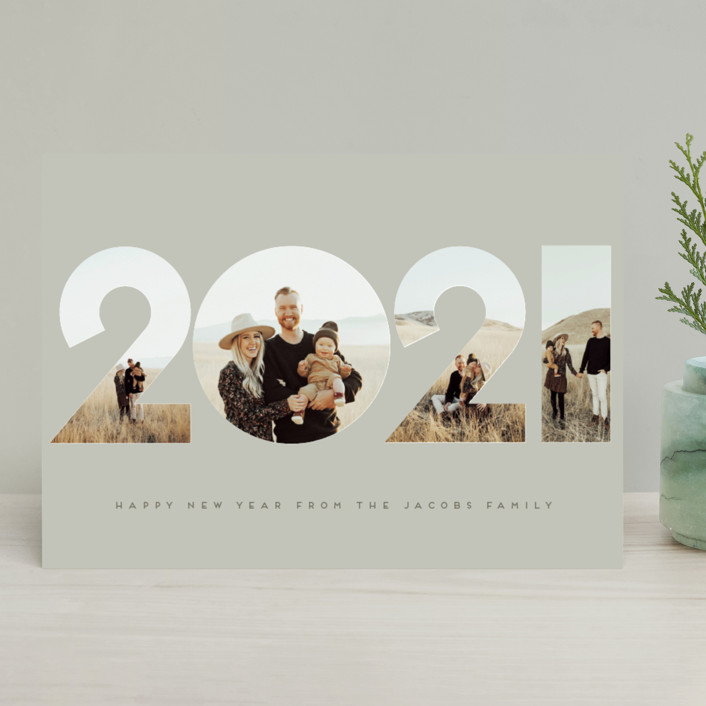 """It's Our Year"" - Modern New Year Photo Cards in Tan by Nicole Walsh."