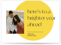 This is a yellow new year photo card by Annie Clark called Bright Spot with standard printing on smooth signature in standard.