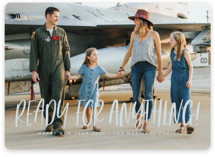 This is a blue new year photo card by Lea Delaveris called Ready for anything with standard printing on smooth signature in standard.