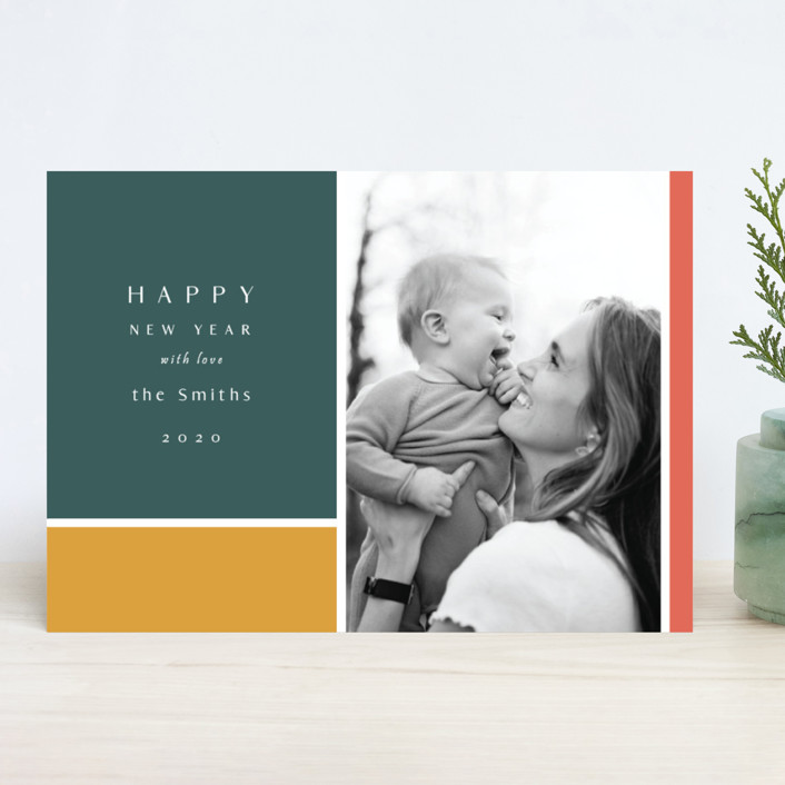 """""""Color Block"""" - New Year Photo Cards in Forest by Nicole Walsh."""