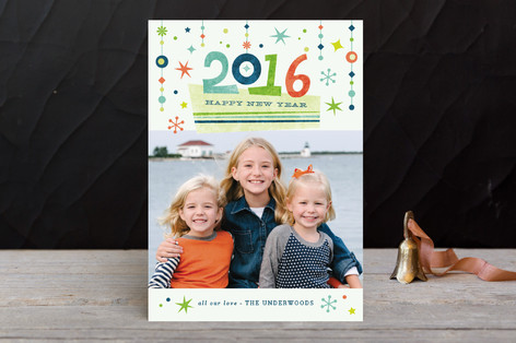 Retro Flair New Year Photo Cards