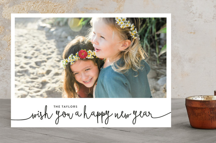 """We Wish You A Happy New Year"" - New Year Photo Cards in Midnight by Christine Taylor."