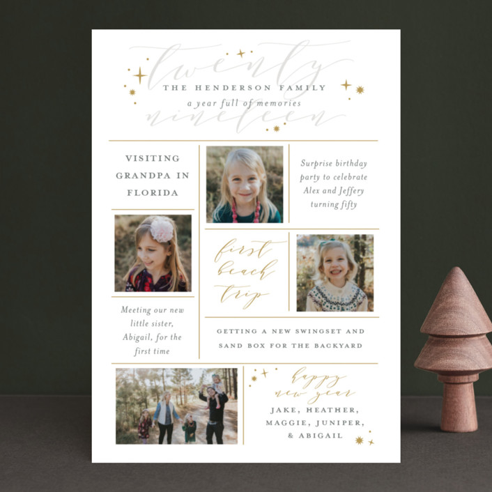 """A Year Full of Memories"" - New Year Photo Cards in Golden by Sarah Guse Brown."
