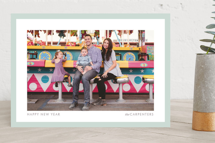 bright border simple modern new year photo cards in mint by kelli