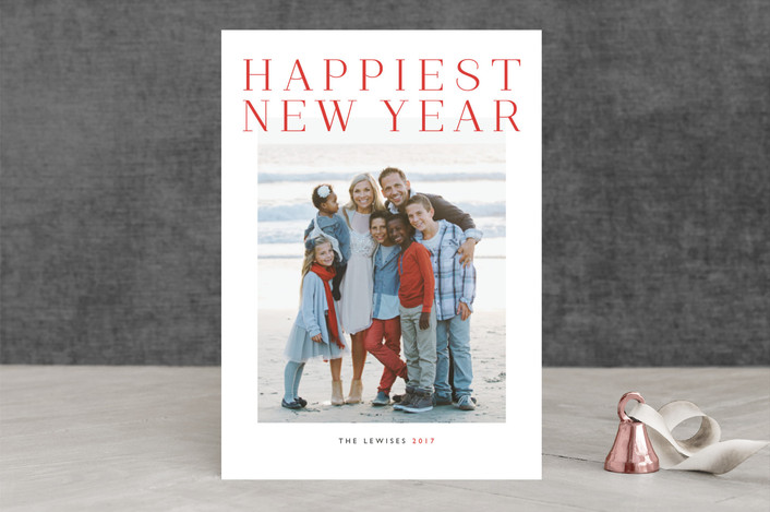 """""""Grand"""" - Minimalist, Modern New Year Photo Cards in Holly Berry by Alston Wise."""