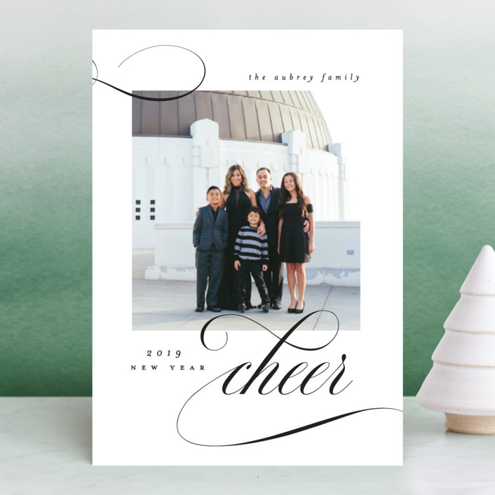 """Elegant Cheer"" - New Year Photo Cards in Noir by Bonjour Berry."