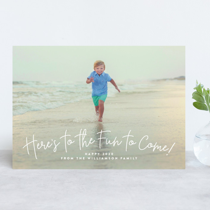 """""""Fun to Come"""" - New Year Photo Cards in Marine by Lauren Chism."""