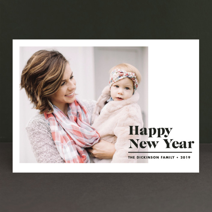 """New Year Modern"" - New Year Photo Cards in Licorice by Brooke Chandler."