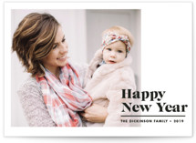 This is a black new year photo card by Brooke Chandler called New Year Modern with standard printing on smooth signature in standard.