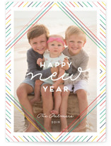 This is a blue new year photo card by Shirley Lin Schneider called Diamonte with standard printing on smooth signature in standard.