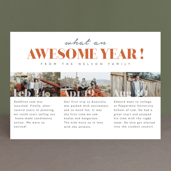 """What an awesome year"" - New Year Photo Cards in Flower by Kann Orasie."