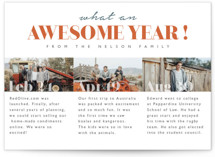 This is a orange new year photo card by Kann Orasie called What an awesome year with standard printing on smooth signature in standard.
