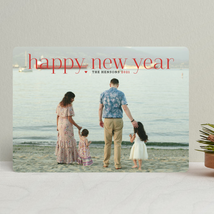 """""""Timeless Greeting"""" - New Year Photo Cards in Holly Berry by Alston Wise."""