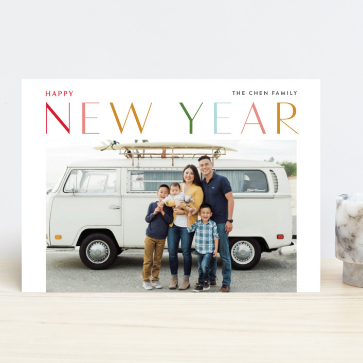 """Fruitful"" - New Year Photo Cards in Rainbow by Jennifer Lew."
