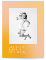 This is a yellow new year photo card by Jennifer Lew called toward with standard printing on signature in standard.
