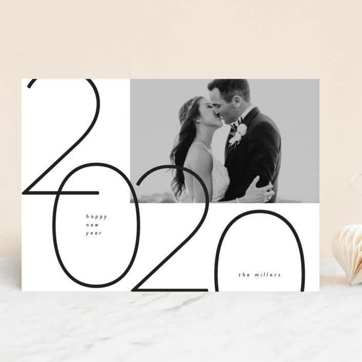 """""""Big Year"""" - New Year Photo Cards in Ebony by peony papeterie."""
