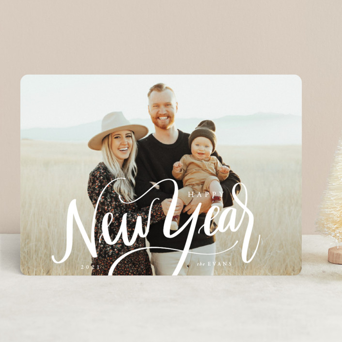 """Scripted New Year"" - New Year Photo Cards in Ivory by Cindy Reynolds."