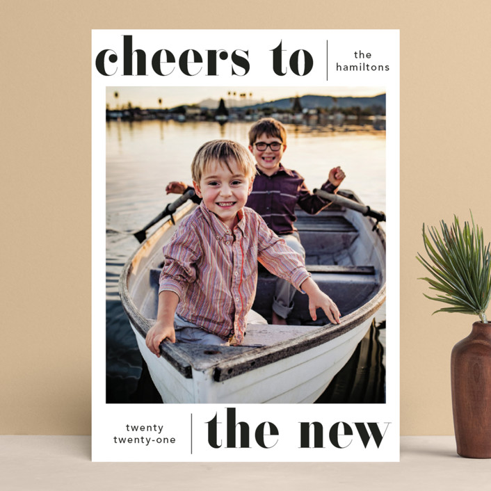 """""""Bold Cheer"""" - New Year Photo Cards in Coal by Hudson Meet Rose."""