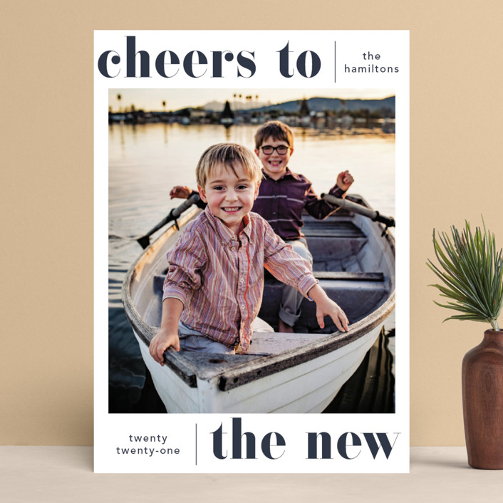 """""""Bold Cheer"""" - New Year Photo Cards in Ocean by Hudson Meet Rose."""