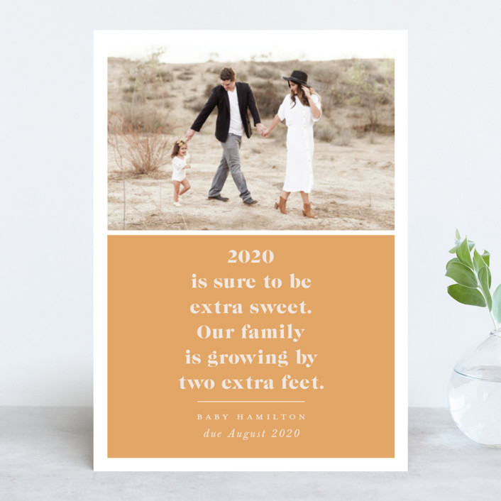 """Extra Sweet"" - New Year Photo Cards in Saffron by Hudson Meet Rose."