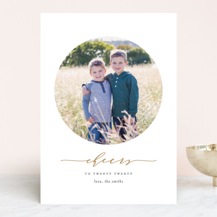 new cheers new year photo cards in brass by ana sharpe